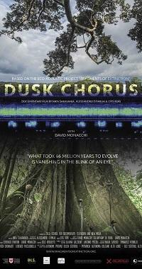"locandina di ""Dusk Chorus, based on frgaments of extintion by David Monacchi"""